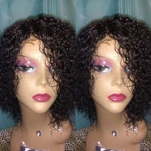 Brazilian wet n wavy curly short human hair wig